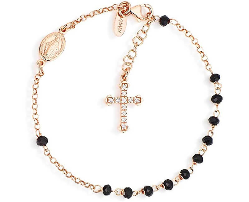 Amen Růžově pozlacený stříbrný náramek s krystaly a zirkony Rosary BRORNZ4