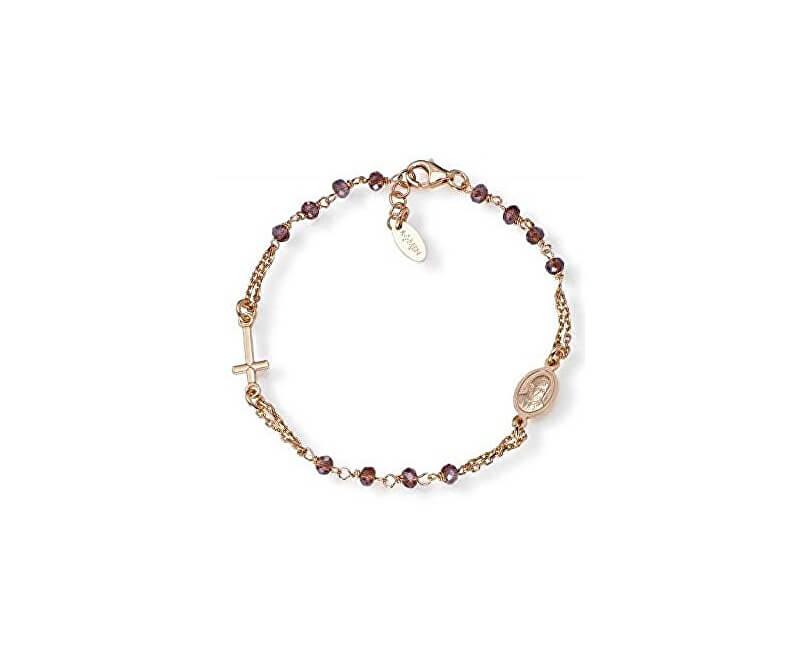 Amen Růžově pozlacený stříbrný náramek s krystaly Rosary BRORVI3