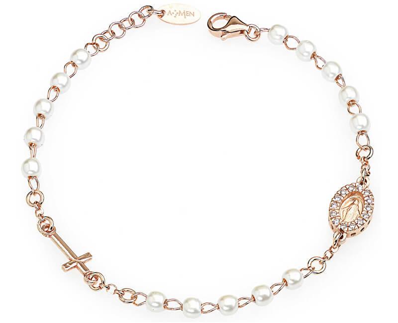 Amen Růžově pozlacený stříbrný náramek s perlami a zirkony Rosary BRORBZ-M3