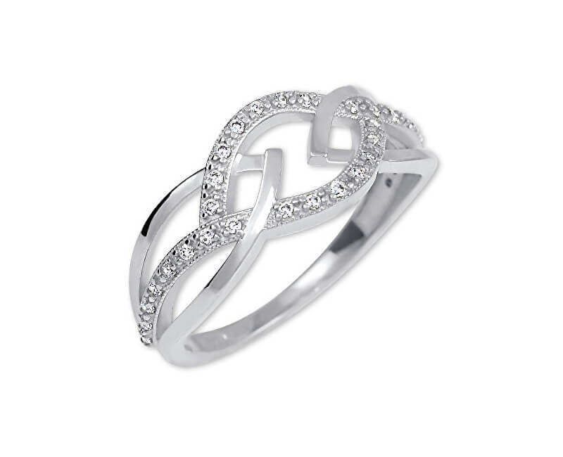Brilio Dámský prsten z bílého zlata s krystaly 229 001 00805 07