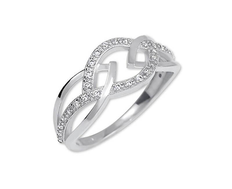 Brilio Dámsky prsteň z bieleho zlata s kryštálmi 229 001 00805 07