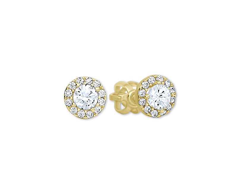 Brilio Zlaté kulaté náušnice s čirými krystaly 239 001 00806
