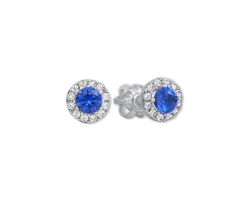 Brilio Zlaté kulaté náušnice s modrým krystalem 239 001 00806 07 - 1,05 g