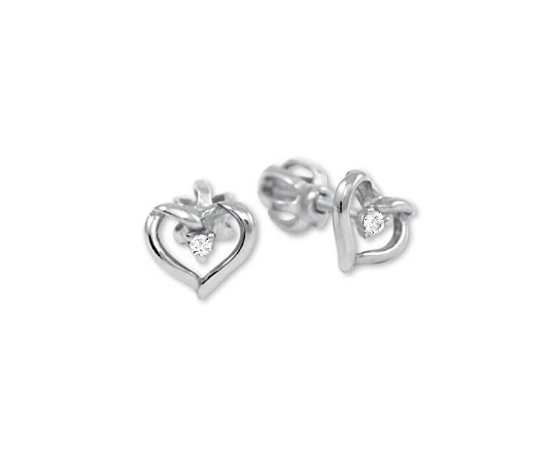 Brilio Zlaté náušnice srdce s krystalem 236 001 00914 07