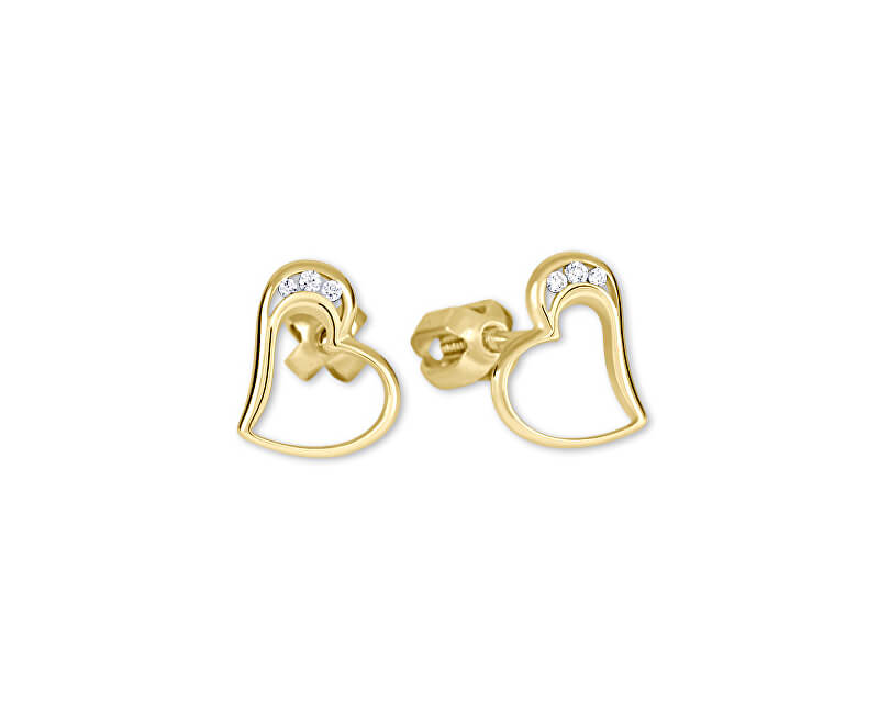Brilio Zlaté náušnice srdce s krystaly 239 001 00772
