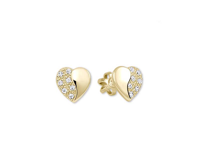 Brilio Zlaté náušnice Srdiečka s kryštálmi 239 001 00878 - 1 2f60fd85d52