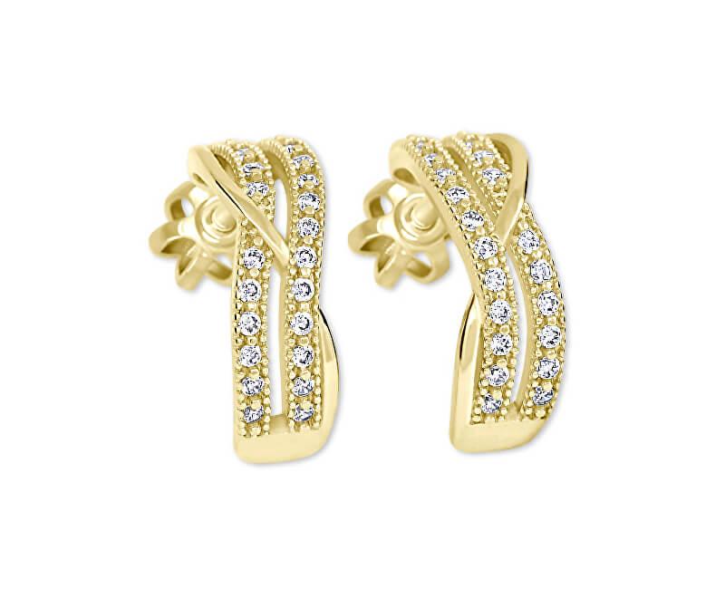Brilio Zlaté půlkruhové náušnice s krystaly 239 001 00978 - 2,30 g