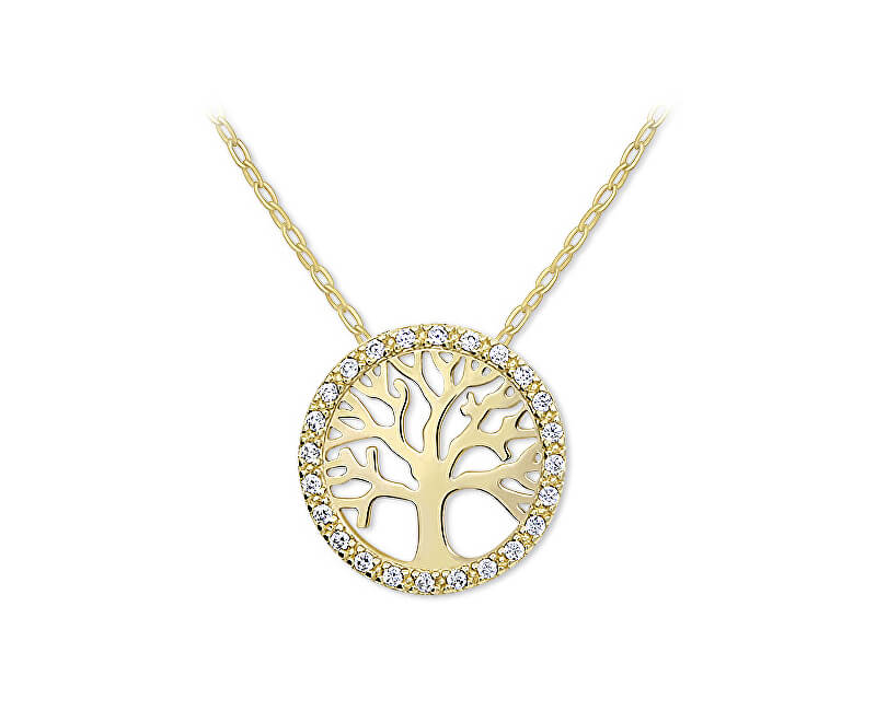 Brilio Zlatý náhrdelník Strom života s krystaly 279 001 00090 - 2 b698dc8c637