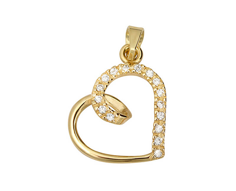 af7f3bc1c Brilio Zlatý prívesok s kryštálmi Srdce 249 001 00451 - 0,85 g ...