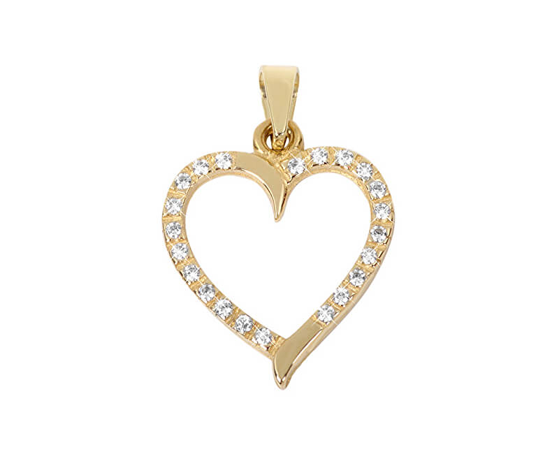 a718429cc Brilio Zlatý přívěsek Srdce s čirými krystaly 249 001 00462 - 0,90 g ...
