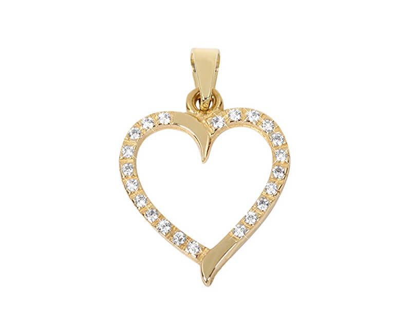 aa07bb1ec Brilio Zlatý přívěsek Srdce s čirými krystaly 249 001 00462 - 0,90 g ...