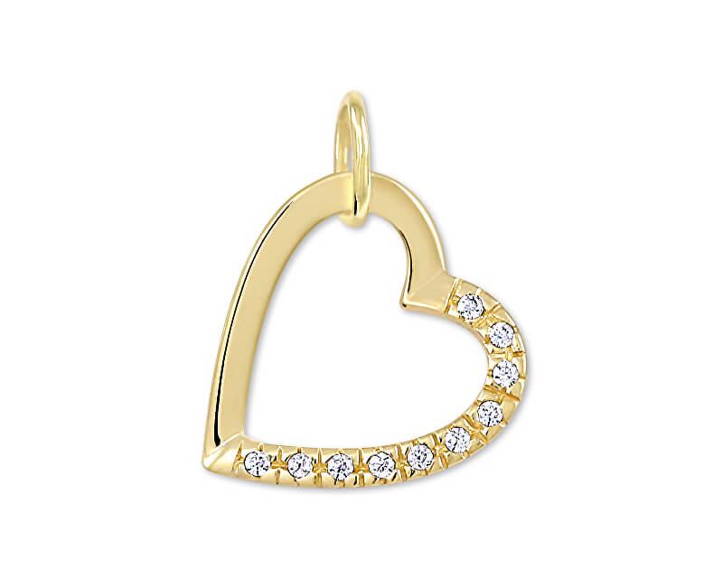 Brilio Pandantiv inima de aur cu cristale 249 001 00494 - 0.60 g
