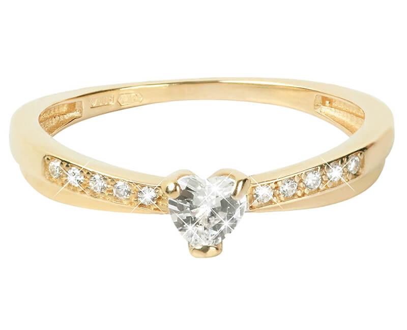 Brilio Zlatý prsten Srdce s krystaly 229 001 00750