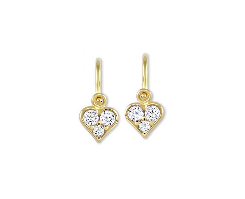 Brilio Dětské zlaté náušnice s krystaly 239 001 00485 - 0,75 g