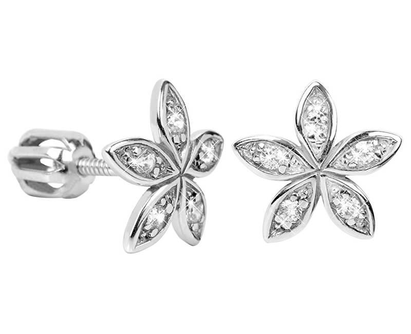 Brilio Silver Květinové náušnice s krystaly 436 001 00438 04