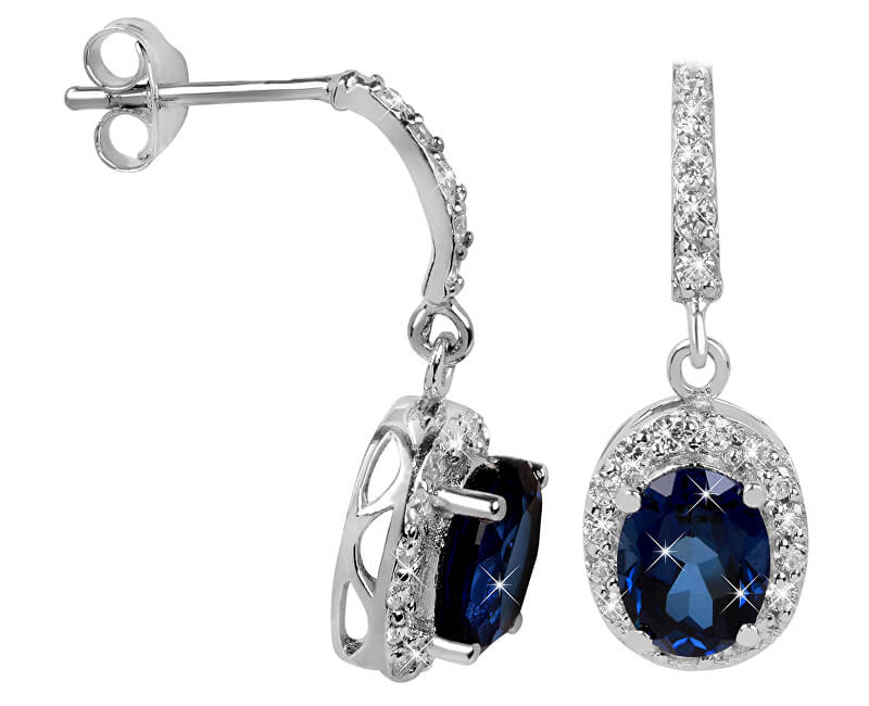Brilio Silver Překrásné náušnice pro ženy 436 154 00235 04 - modré - 2,76 g