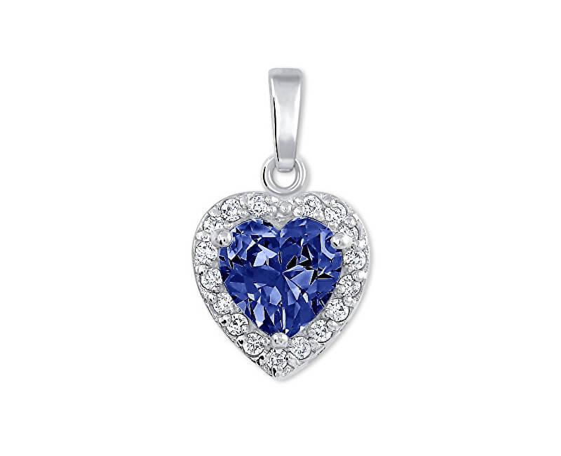 Brilio Silver Překrásný přívěsek Srdce 446 154 00176 04 - modrý - 1,40 g
