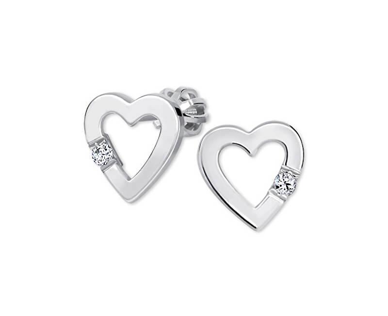 Brilio Silver Srdíčkové náušnice s krystalem 436 001 00418 04