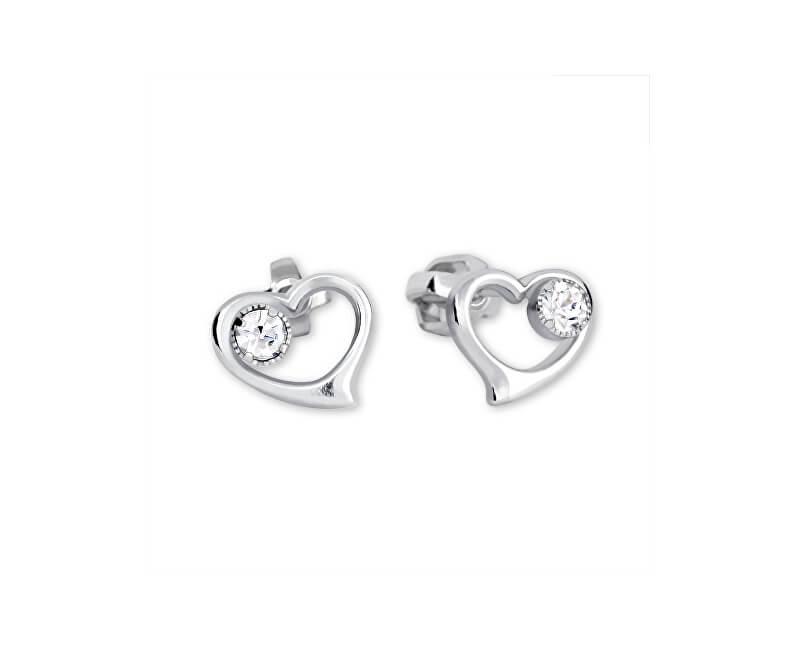 Brilio Silver Stříbrné náušnice Srdce s krystalem 438 001 00931 04 ... 400575a19de