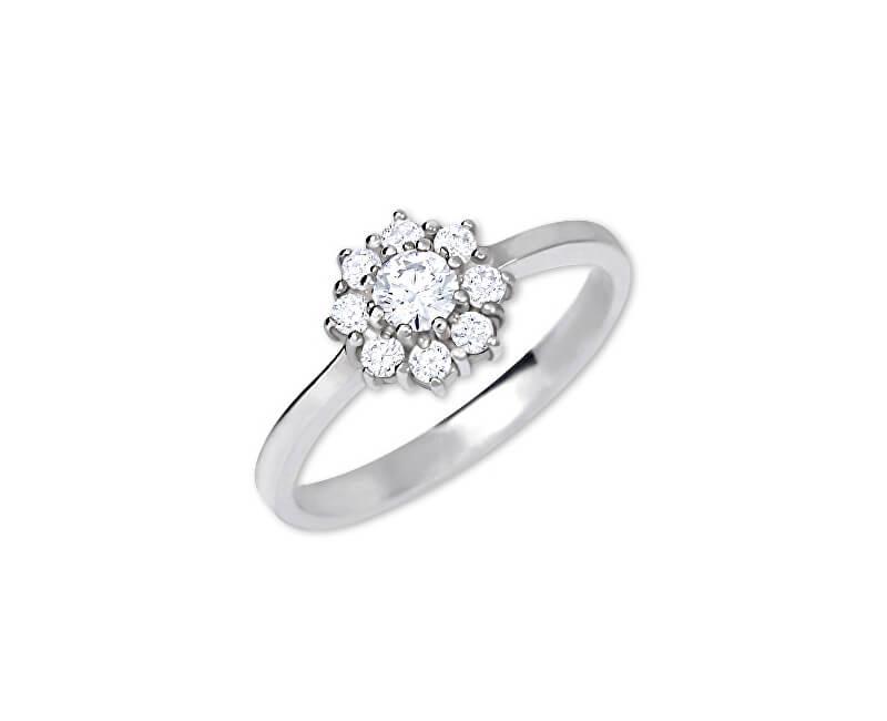 Brilio Silver Stříbrný zásnubní prsten 426 001 00432 04 - čirý - 2,30 g