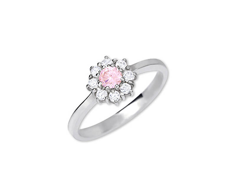 Brilio Silver Stříbrný zásnubní prsten 426 001 00432 04 - růžový - 2,30 g