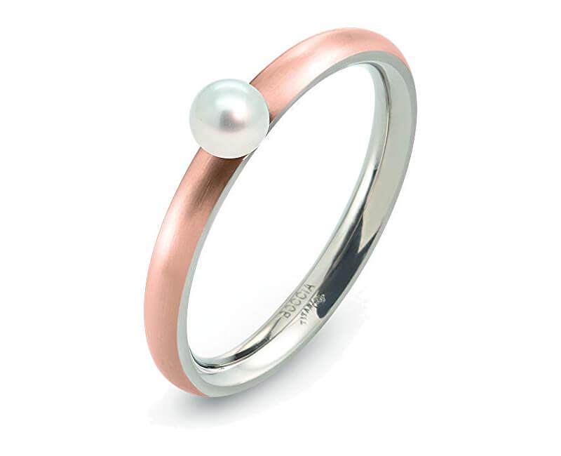 Boccia Titanium Růžově pozlacený titanový prsten s perličkou 0145-03
