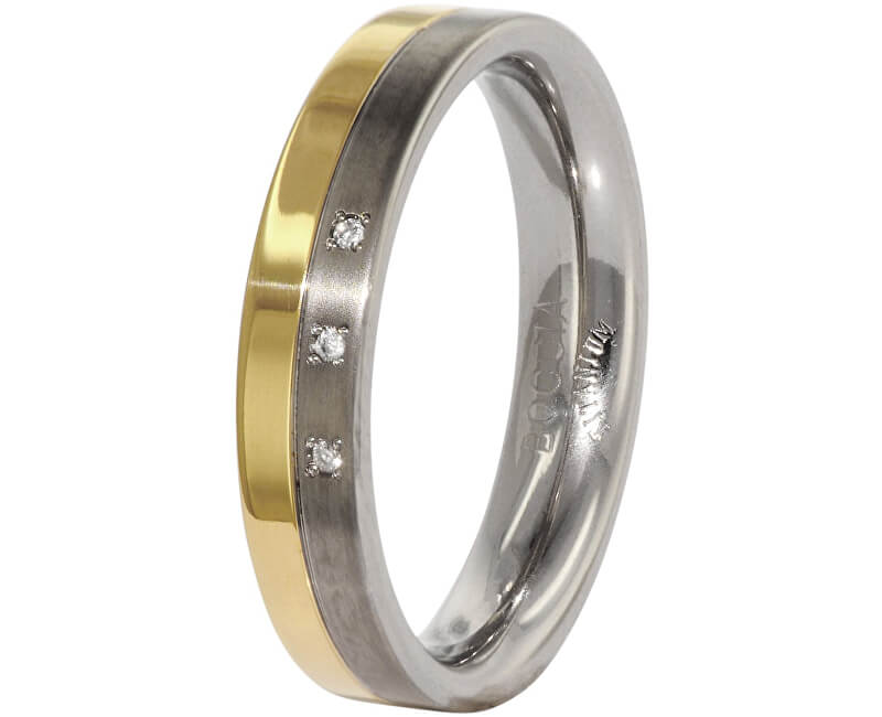 Boccia Titanium Snubní titanový prsten s diamanty 0129-04