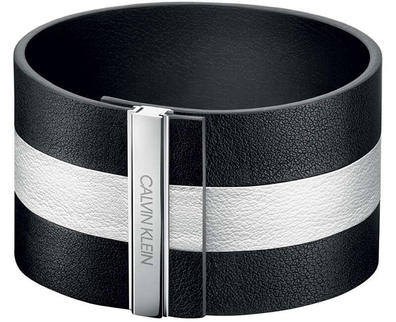 Calvin Klein Černobílý kožený náramek Rebel KJ9KBB09010