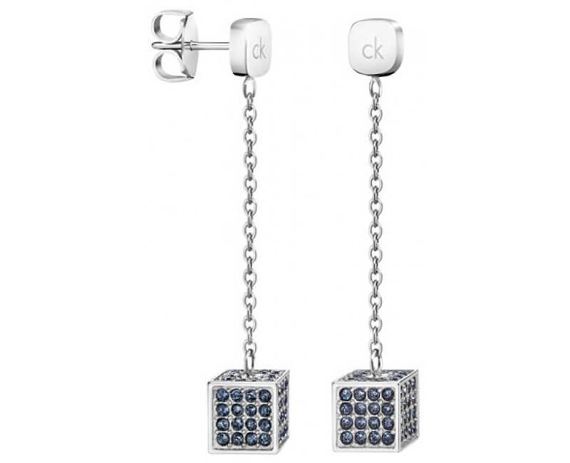 Calvin Klein Dlouhé ocelové náušnice s krychličkami Rocking KJ9CAE040200