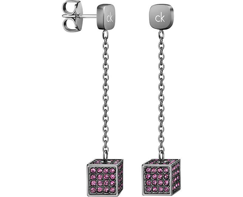 Calvin Klein Dlouhé ocelové náušnice s krychličkami Rocking KJ9CVE140100