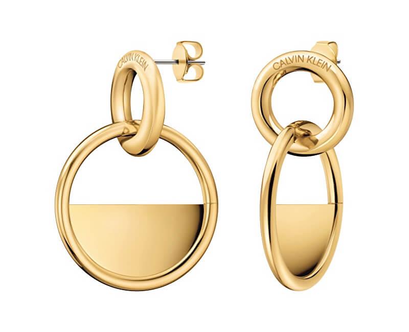 Calvin Klein Luxusní pozlacené náušnice Locked KJ8GJE100100