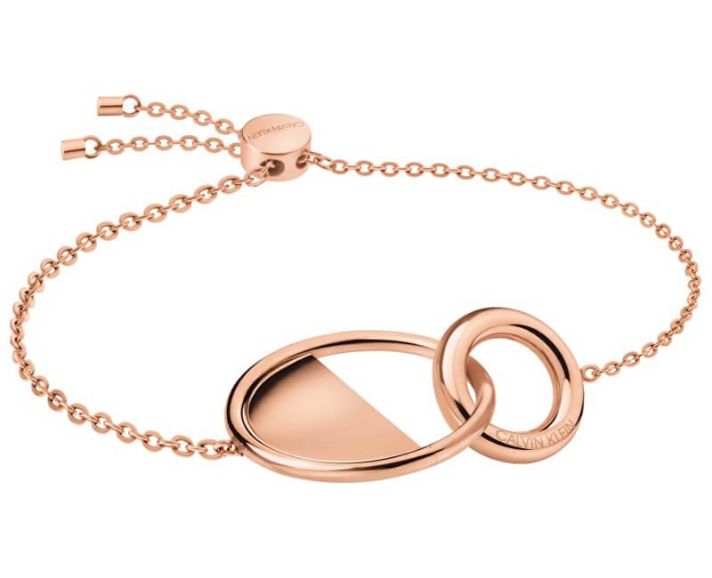 Calvin Klein Luxusní růžově pozlacený náramek Locked KJ8GPB100100