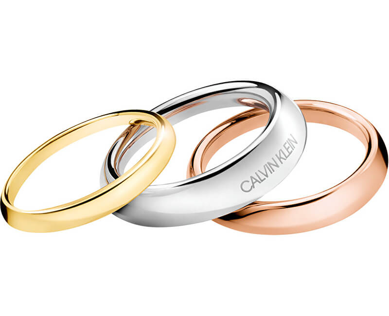 Calvin Klein Set de lux de trei inele Groovy KJ8QDR3001