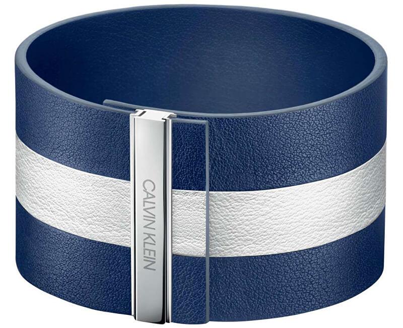 Calvin Klein Modrobílý kožený náramek Rebel KJ9KWB09010