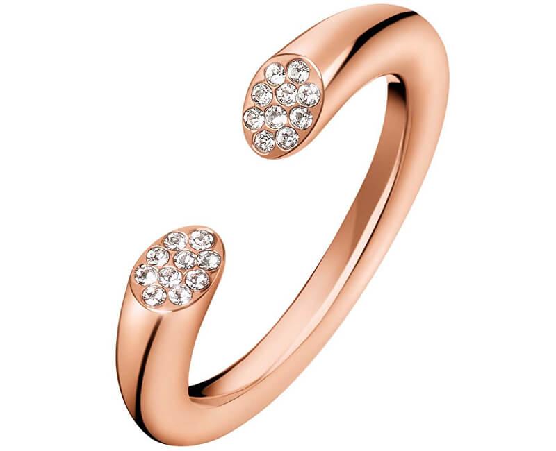 Calvin Klein Otevřený růžově pozlacený prsten s krystaly Brilliant KJ8YPR1401