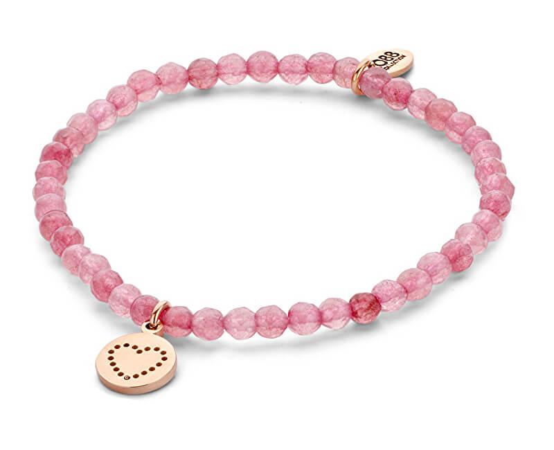 CO88 Pink brățară jad cu inima 865-180-090154-0000