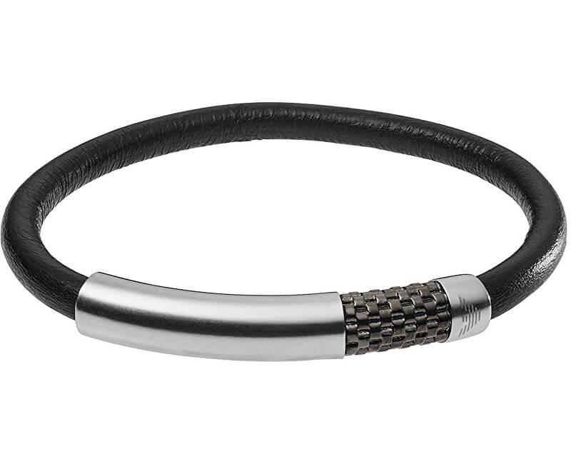 af304e9d8b Emporio Armani Bőr karkötő acél csattal EGS2385020 Ingyenes ...