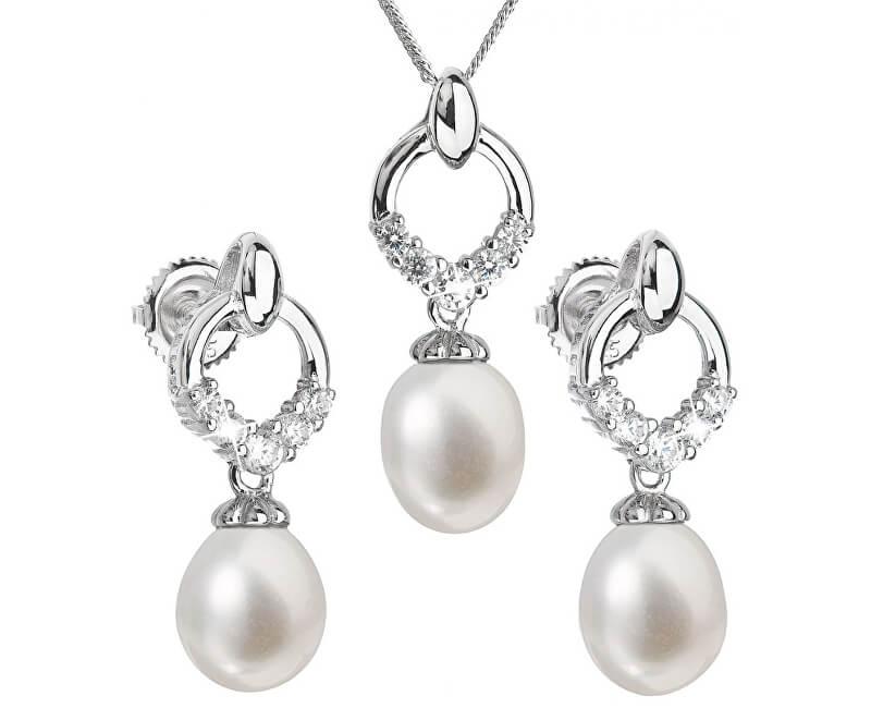 97260528b Evolution Group Luxusní stříbrná souprava s pravými perlami Pavona 29015.1  (náušnice, řetízek, přívěsek