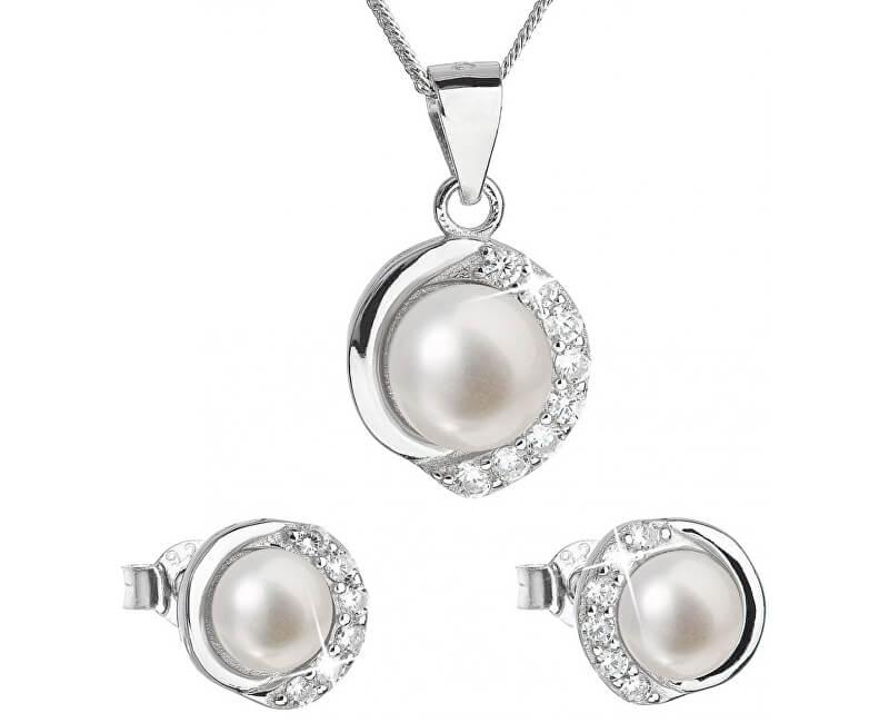 12f84448a Evolution Group Luxusní stříbrná souprava s pravými perlami Pavona 29022.1  (náušnice, řetízek, přívěsek