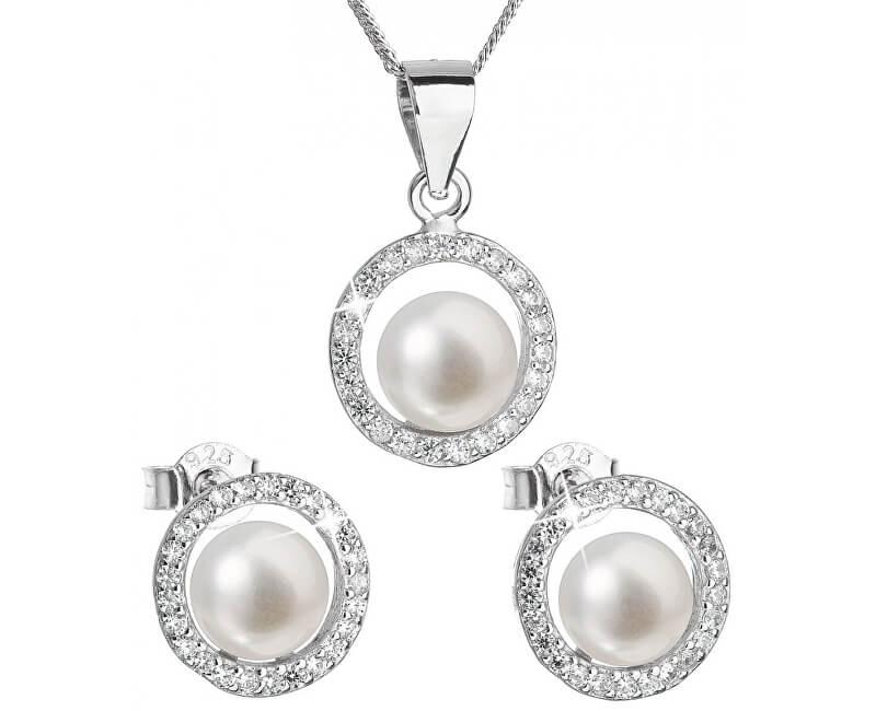7efc6d3f3 Evolution Group Luxusní stříbrná souprava s pravými perlami Pavona 29023.1  (náušnice, řetízek, přívěsek