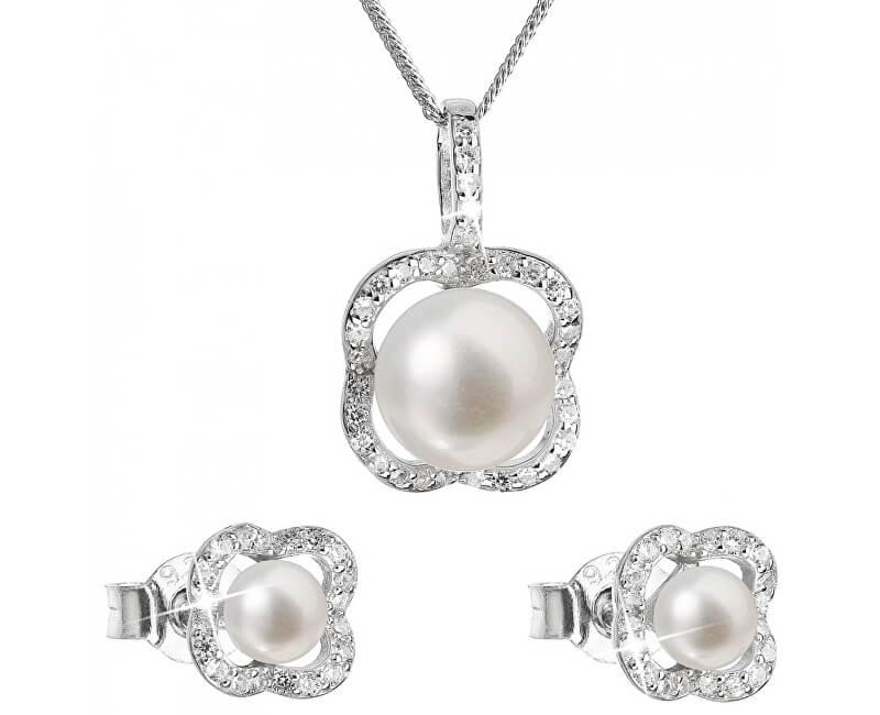 bf83fa338 Evolution Group Luxusní stříbrná souprava s pravými perlami Pavona 29024.1  (náušnice, řetízek, přívěsek