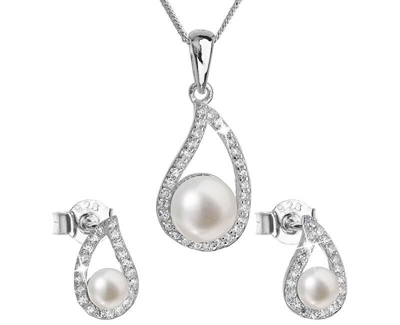 Evolution Group Luxusní stříbrná souprava s pravými perlami Pavona 29027.1