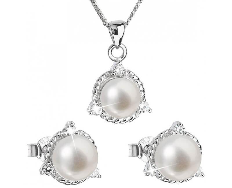 c8b652dcd Evolution Group Luxusní stříbrná souprava s pravými perlami Pavona 29033.1  (náušnice, řetízek, přívěsek