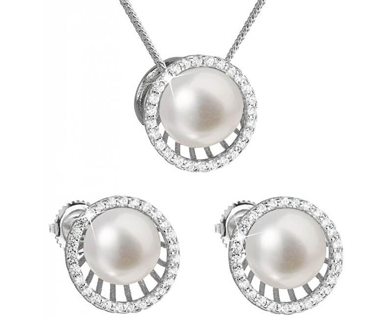 38edce06e Evolution Group Luxusní stříbrná souprava s pravými perlami Pavona 29034.1  (náušnice, řetízek, přívěsek