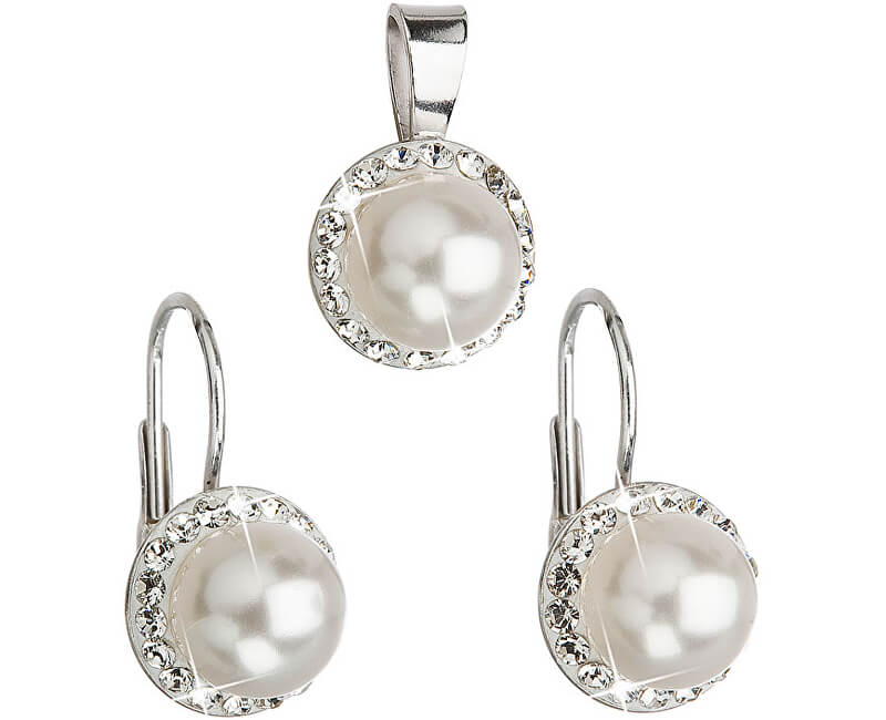 Evolution Group Sada s perlami a krystaly Swarovski 39091.1 bílá (náušnice, přívěsek)