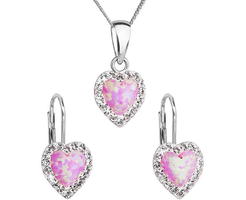 Evolution Group Srdíčková souprava šperků 39161.1 & light rose s.opal (náušnice, řetízek, přívěsek)
