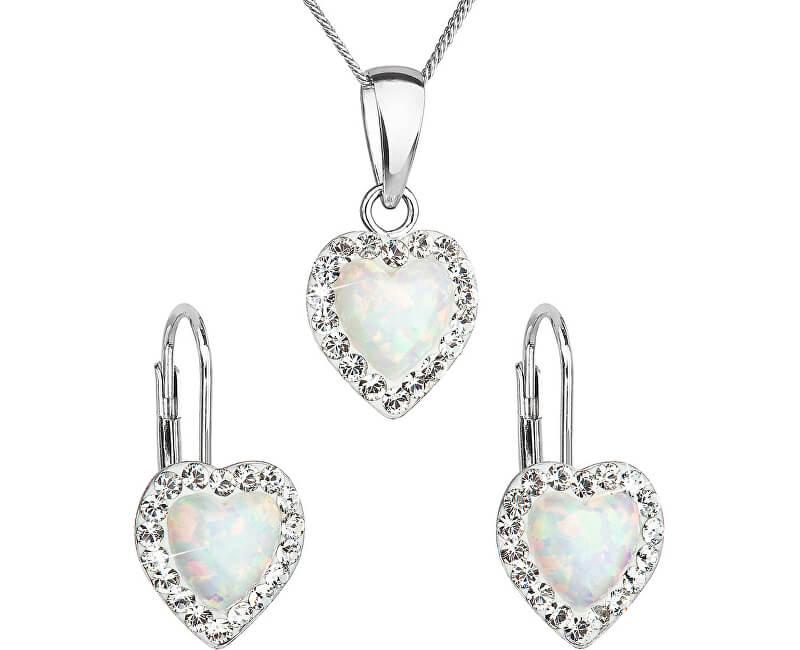 Evolution Group Srdíčková souprava šperků 39161.1 & white s.opal (náušnice, řetízek, přívěsek)