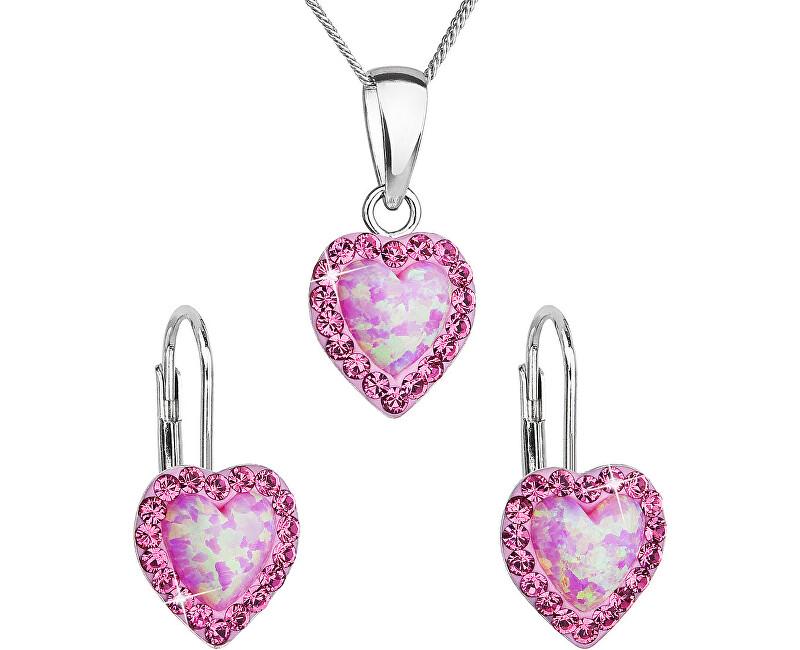 Evolution Group Srdíčková souprava šperků 39161.3 & light rose s.opal (náušnice, řetízek, přívěsek)
