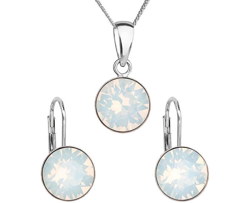 Evolution Group Stříbrná souprava šperků 39140.7 white opal (náušnice, řetízek, přívěsek)