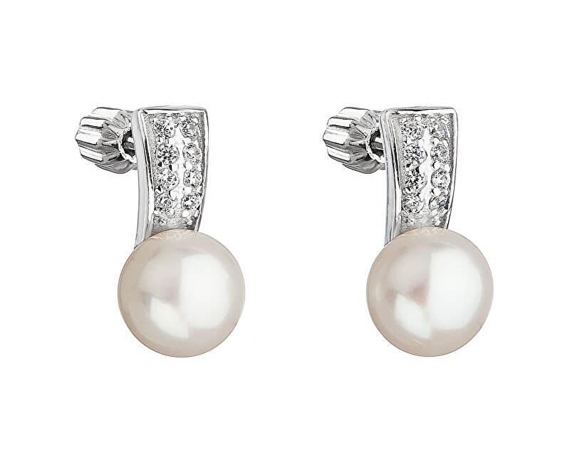 Evolution Group Stříbrné náušnice s perlou Pavona 21001.1 bílá